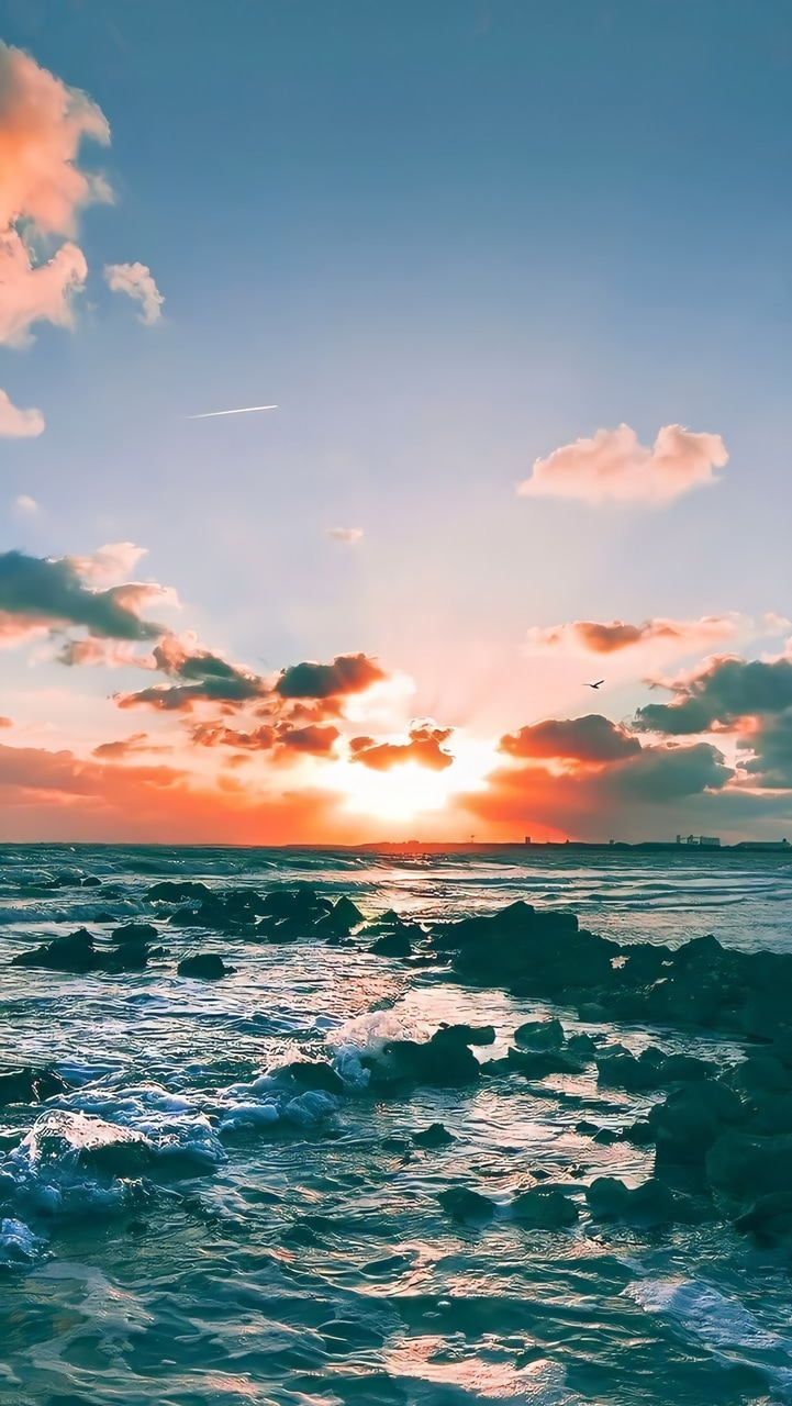 sunset, wallpaper, and sea image