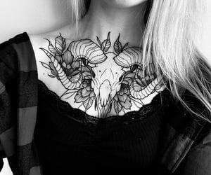 aries, skull tattoos, and aries tattoo image