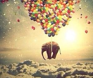 balloons, dreamy, and clouds image