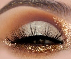 gold, makeup, and glitter image