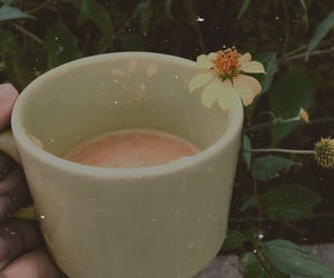 coffe, flowers, and food image