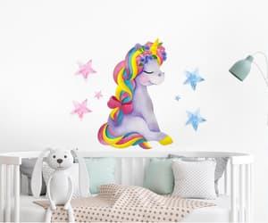 unicorn wall decal, girl unicorn party, and rainbow unicorn wall image