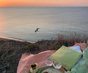 picnic, sunset, and beach image