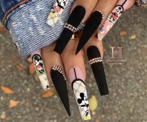 long nails, acrylic nails, and matte nails image