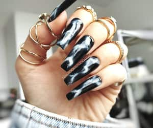 black nails, marble, and white milky way image