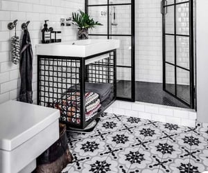 black and white, house, and bathroom image