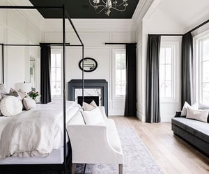 bedroom, black an white, and home interior image