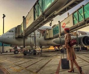 air hostess, aviation, and flight attendant image