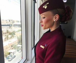 air hostess, airplanes, and Flying image