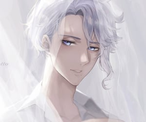 silver hair, white hair, and bishounen image