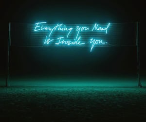 installation, words, and neon image