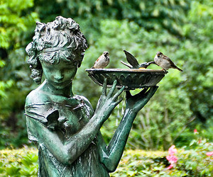 birdbath, girl, and sculpture image