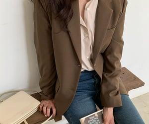 blazer, brown, and denim image