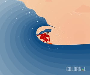 blue, illustration, and surfing image