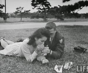 50s, cigarette, and couple image