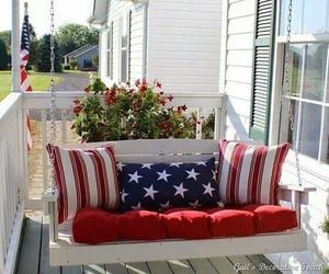 red white blue, pillows, and swing image
