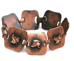 leaf bracelet, copper bangle, and copper link image