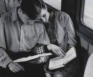 couple, book, and black and white image