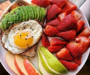 avocado, strawberry, and healthy food image