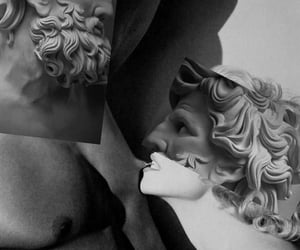 black and white, men, and statues image