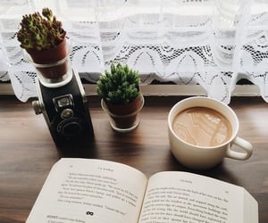 books, morning, and coffee image