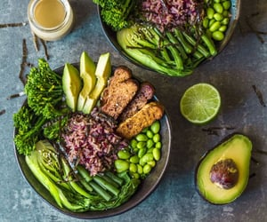 bowl, avocado, and greens image