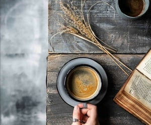 book, coffee, and cup of coffee image