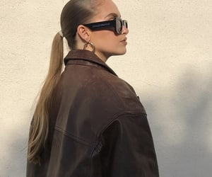 side profile, brown leather jacket, and fashionista fashionable image