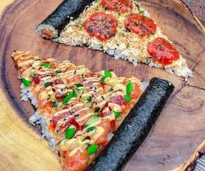 food, sushi, and pizza image