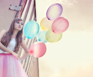 balloons, girl, and pretty image