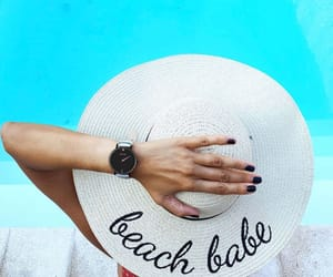 beach, nails, and pool image