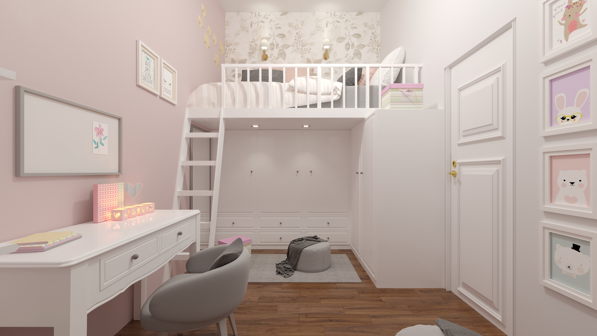 3d, architecture, and bedroom image