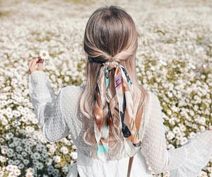 flowers, hair, and stile image