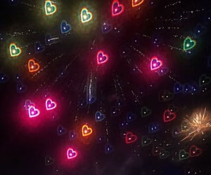 aesthetic, fireworks, and heart image