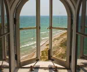 window, beach, and sea image