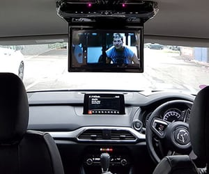 car headrest dvd player, apple car play, and roof mount dvd player image