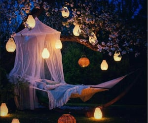 blankets, hammock, and lights image