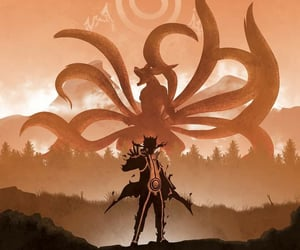 naruto, kurama, and nine tails image