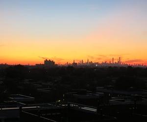 manhattan, nyc, and sunset image