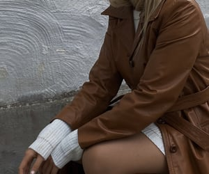 blonde, coat, and fall image