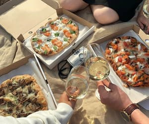 food, pizza, and picnic image
