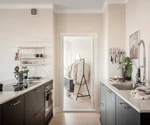 apartment, grey, and kitchen image