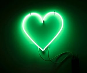 heart, light, and green image