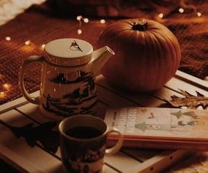 autumn, cat, and coffee image