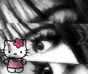 drain, hello kitty, and goth image