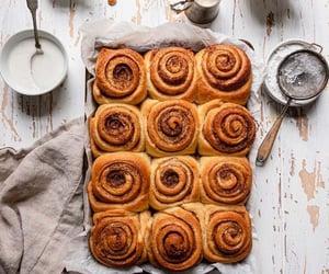 food, Cinnamon, and cinnamon rolls image