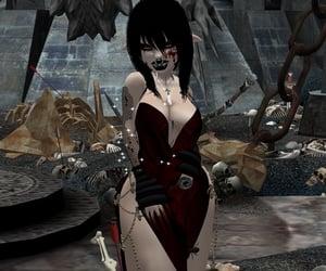 digital art, digital girl, and goth image
