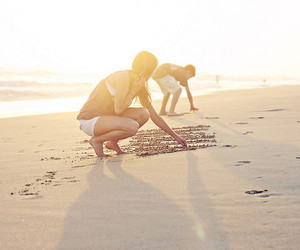 beach, boy, and sand image