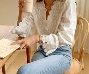 blue jeans and white blouse image