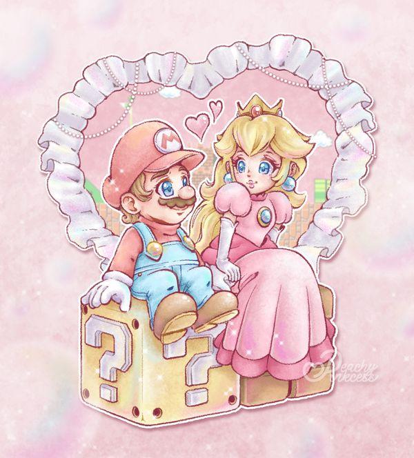 mario, nintendo, and princess peach image